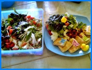 sayuran segar + protein nabati