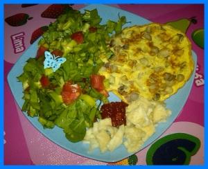 sayuran segar + protein hewani