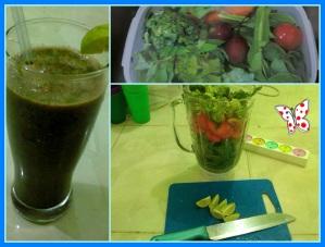campuran dari kemangi, tomat, wortel, bayam, brokoli hijau, terong belanda, sawi thailand, slada